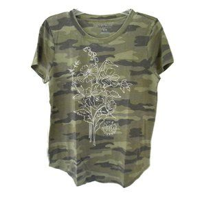 Lucky Brand Women's Green Floral Camouflage Tee
